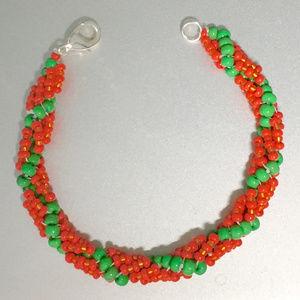 """Coral Reef"" Artisan Bracelet- beaded spiral"